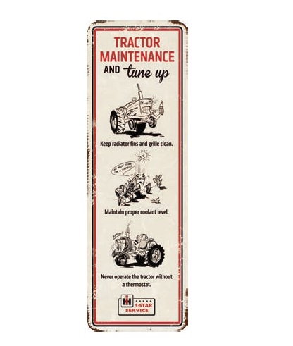 IH Tractor Maintenance Die-Cut Embossed Tin Sign